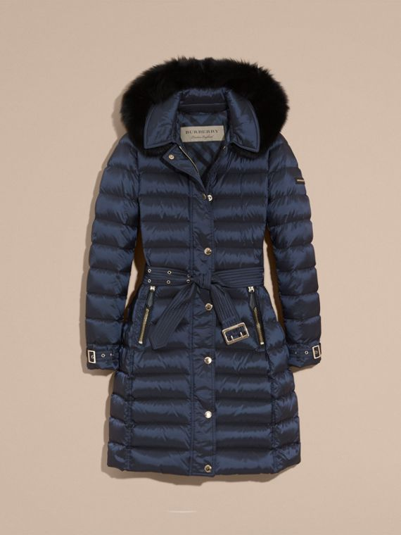 Down-filled Coat with Fox Fur Trim Hood in Navy - Women | Burberry - cell image 3
