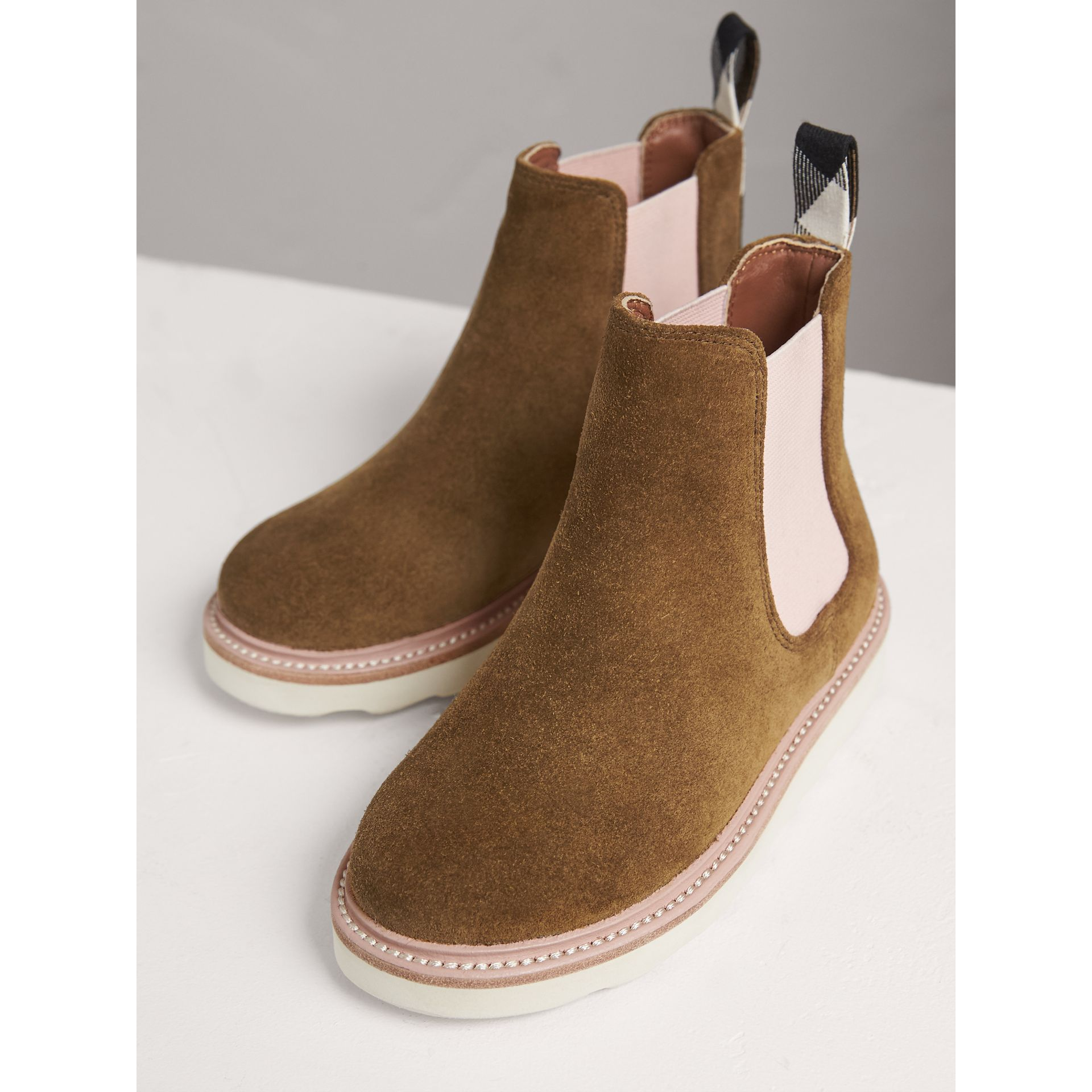 Two-tone Suede Chelsea Boots in Sandstone - Girl | Burberry Singapore - gallery image 3