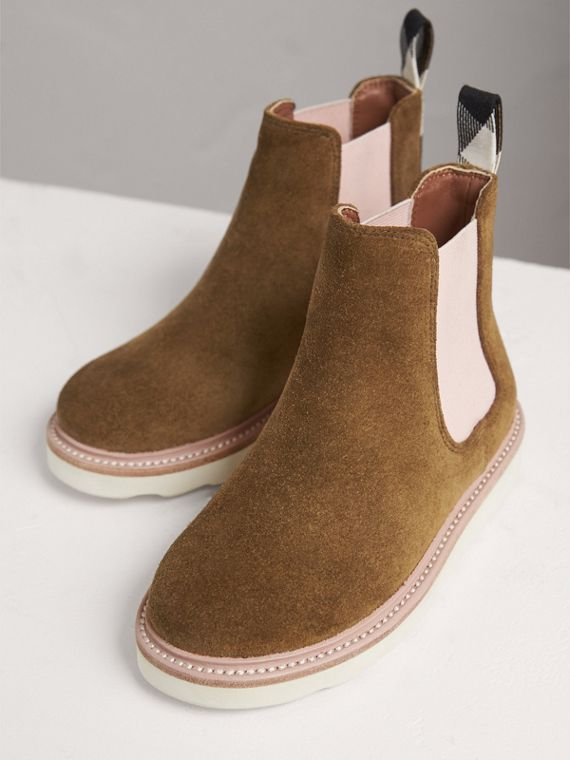 Two-tone Suede Chelsea Boots in Sandstone - Girl | Burberry Singapore - cell image 3