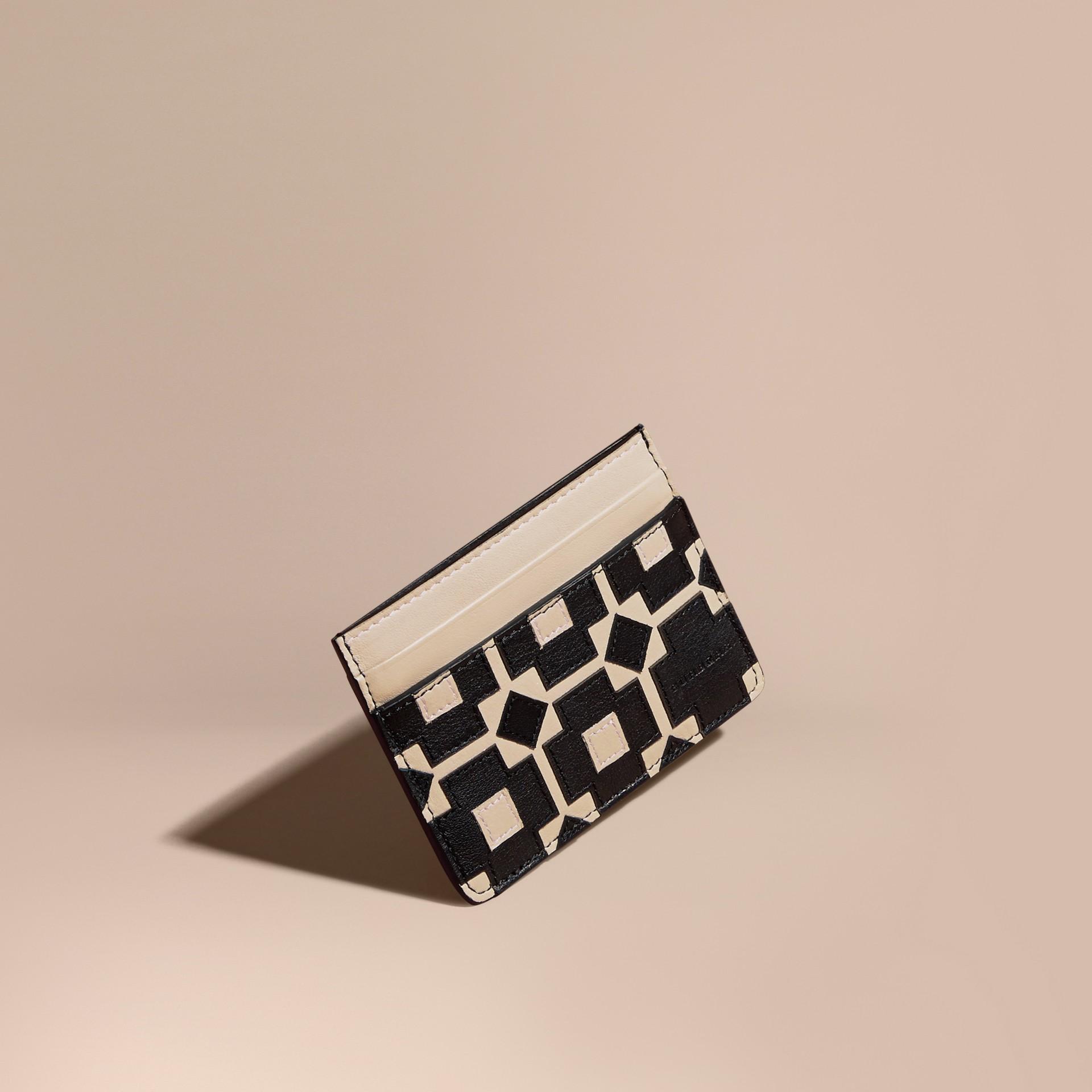 Stone Geometric Appliqué Leather Card Case - gallery image 1