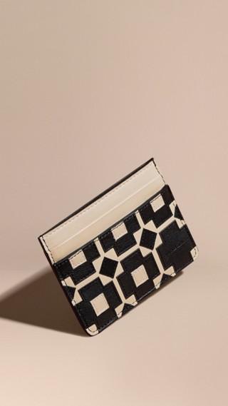 Geometric Appliqué Leather Card Case