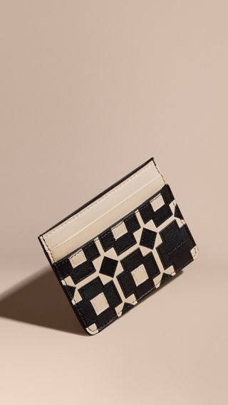 Geometric Appliqué Leather Card Case