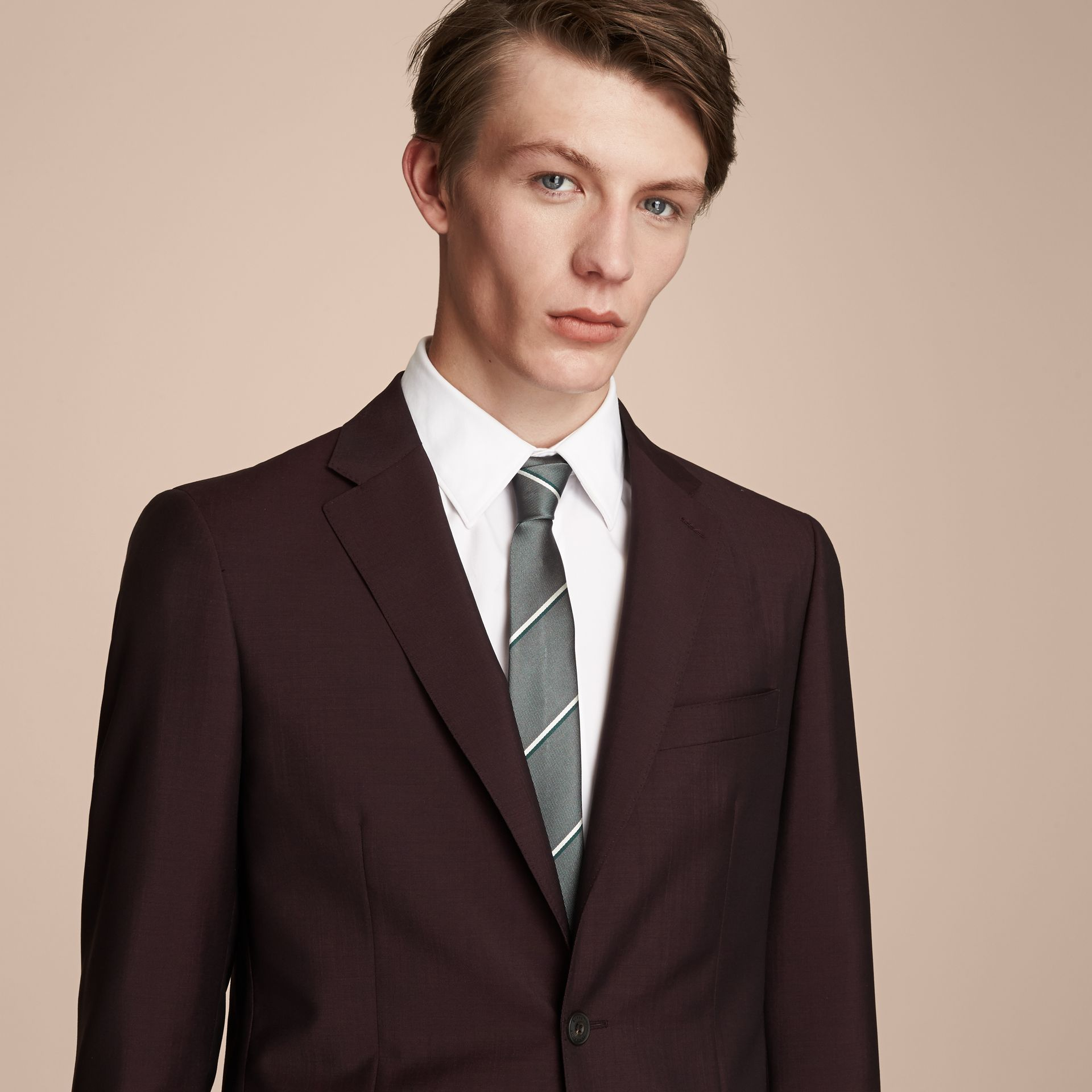 Slim Cut Striped Silk Tie in Sea Green - Men | Burberry Australia - gallery image 3