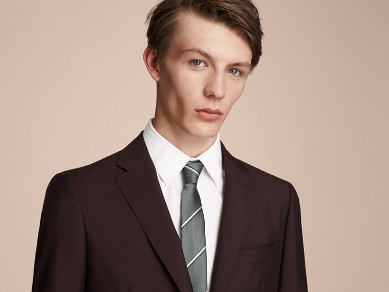 Slim Cut Striped Silk Tie in Sea Green - Men | Burberry - cell image 2