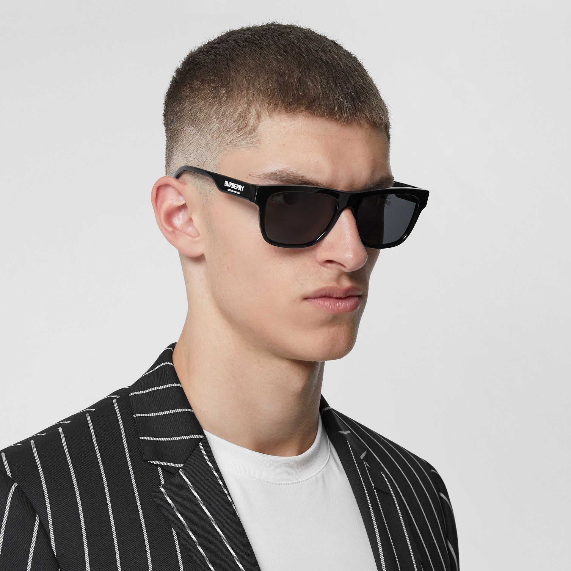 Square Frame Sunglasses in Black - Men | Burberry Canada - gallery image 2