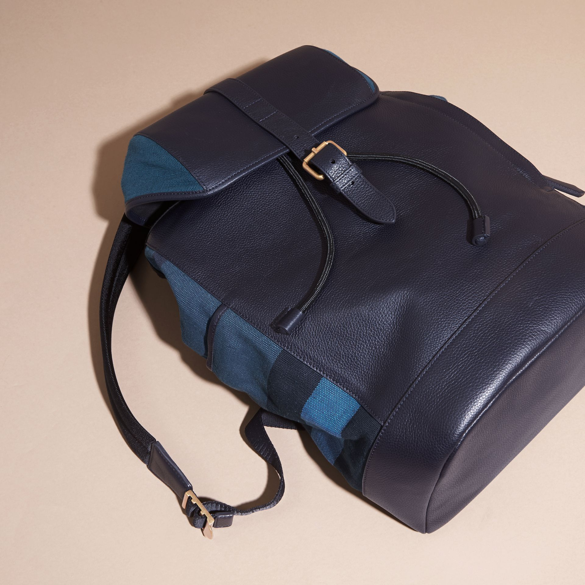 Ultramarine blue Leather and Overdyed Canvas Check Backpack - gallery image 7