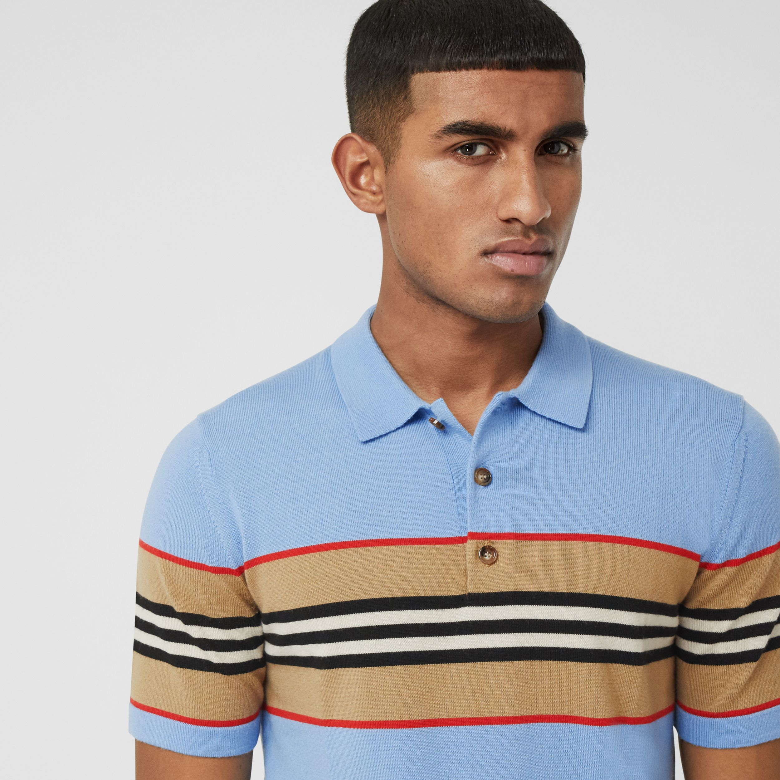 Icon Stripe Detail Merino Wool Polo Shirt in Pale Blue - Men | Burberry - 2