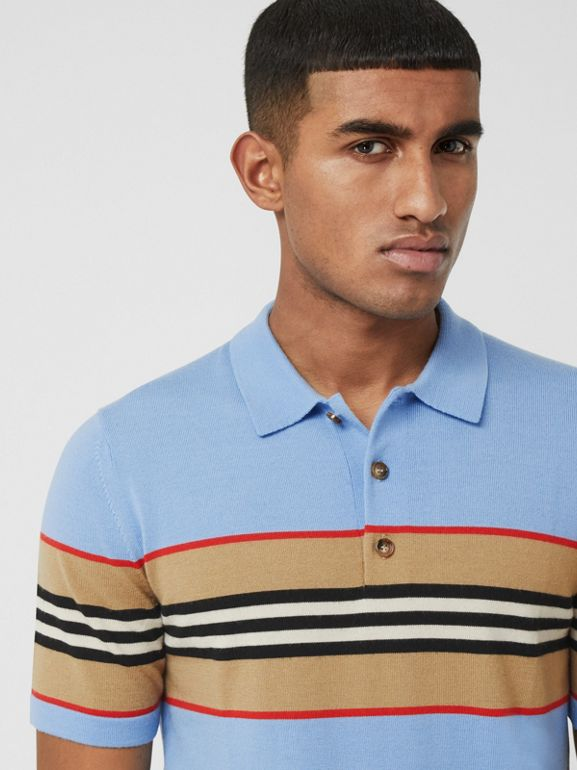 Icon Stripe Detail Merino Wool Polo Shirt in Pale Blue - Men | Burberry United Kingdom - cell image 1