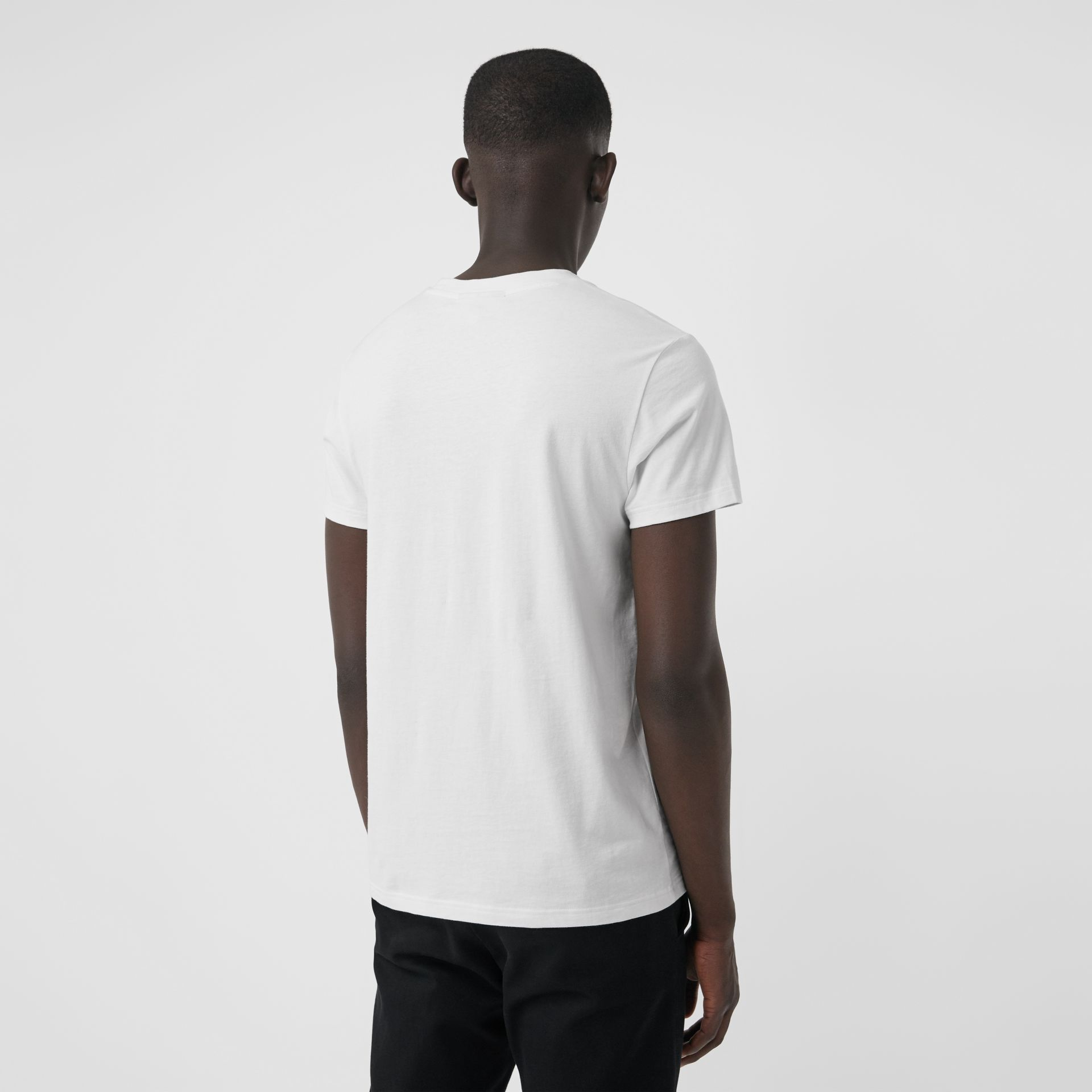 Embroidered Logo Cotton T-shirt in White - Men | Burberry - gallery image 2