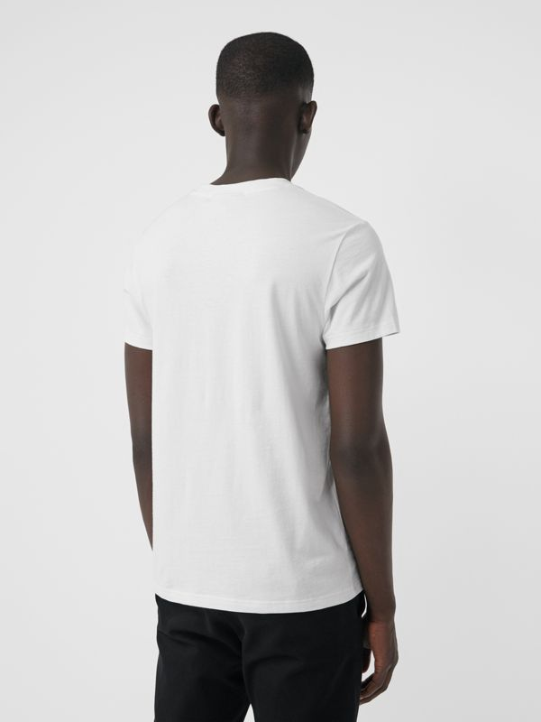 Embroidered Logo Cotton T-shirt in White - Men | Burberry Australia - cell image 2
