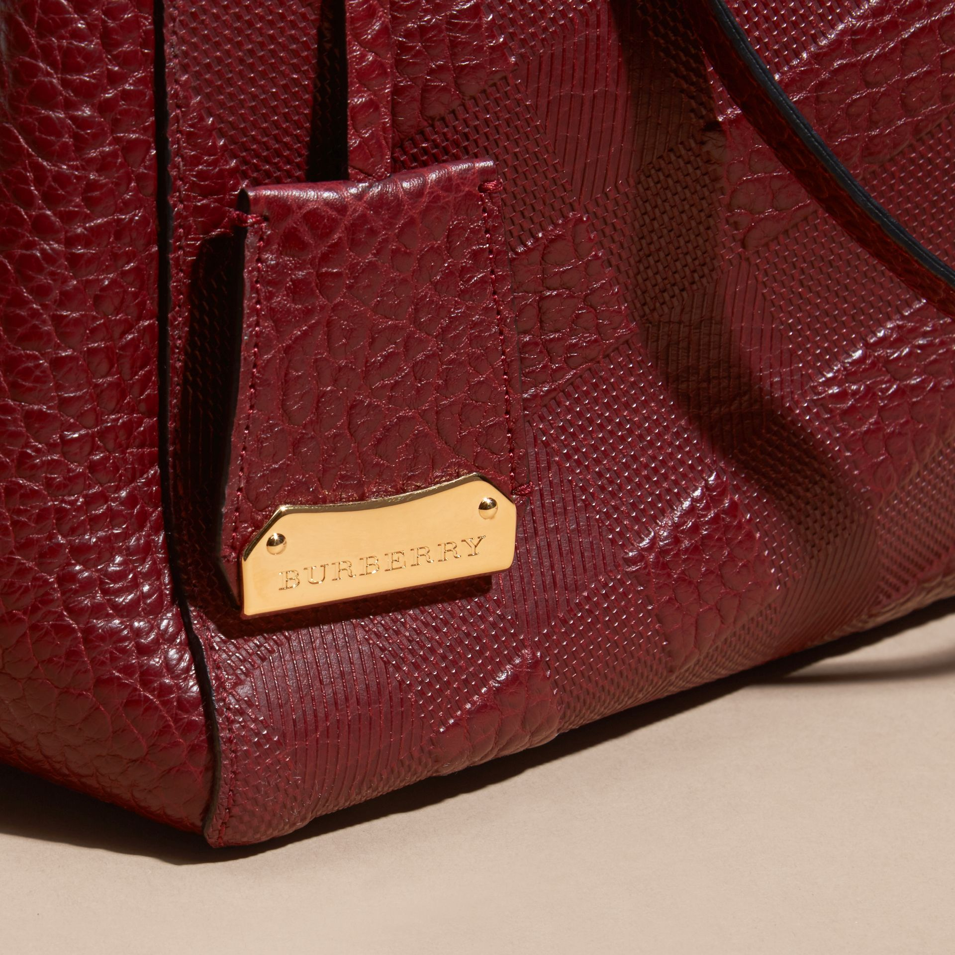 Deep red The Small Canter in Embossed Check Leather Deep Red - gallery image 6