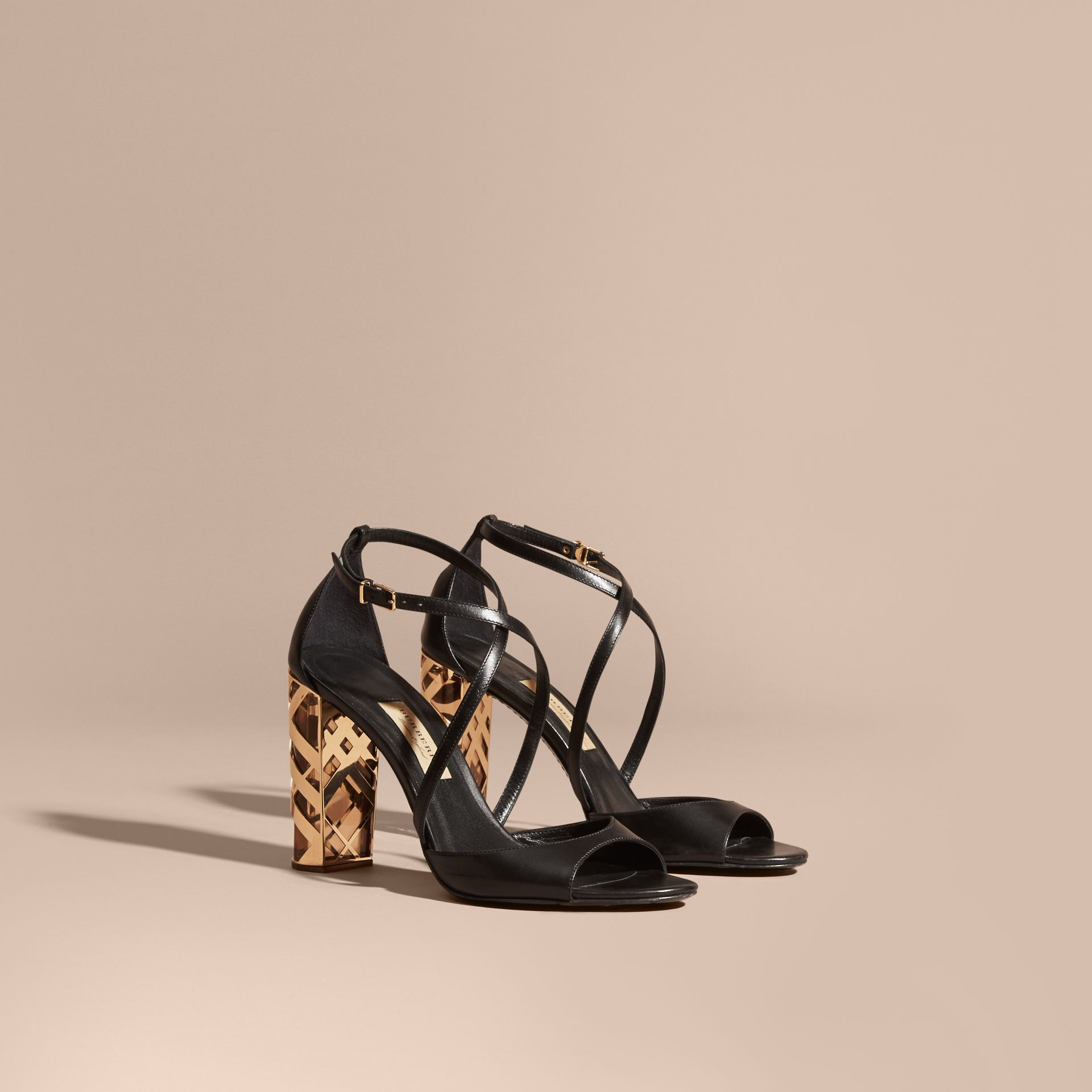 Black Check Heel Leather Sandals - gallery image 1