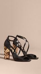 Check Heel Leather Sandals