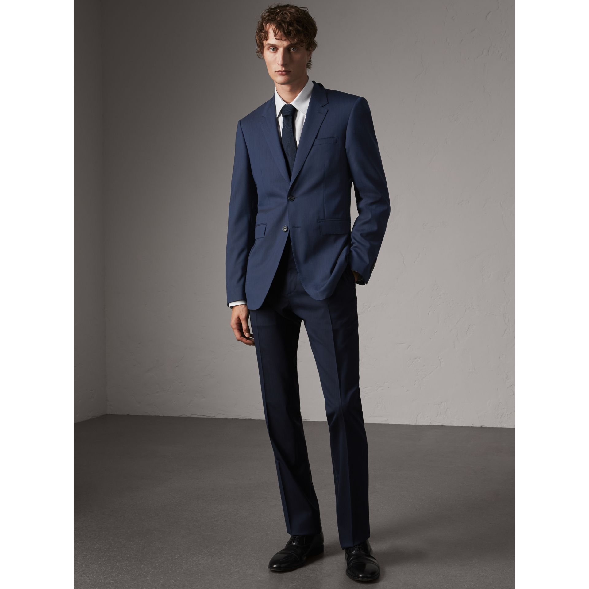 Modern Fit Stretch Wool Suit in Navy - Men | Burberry - gallery image 1