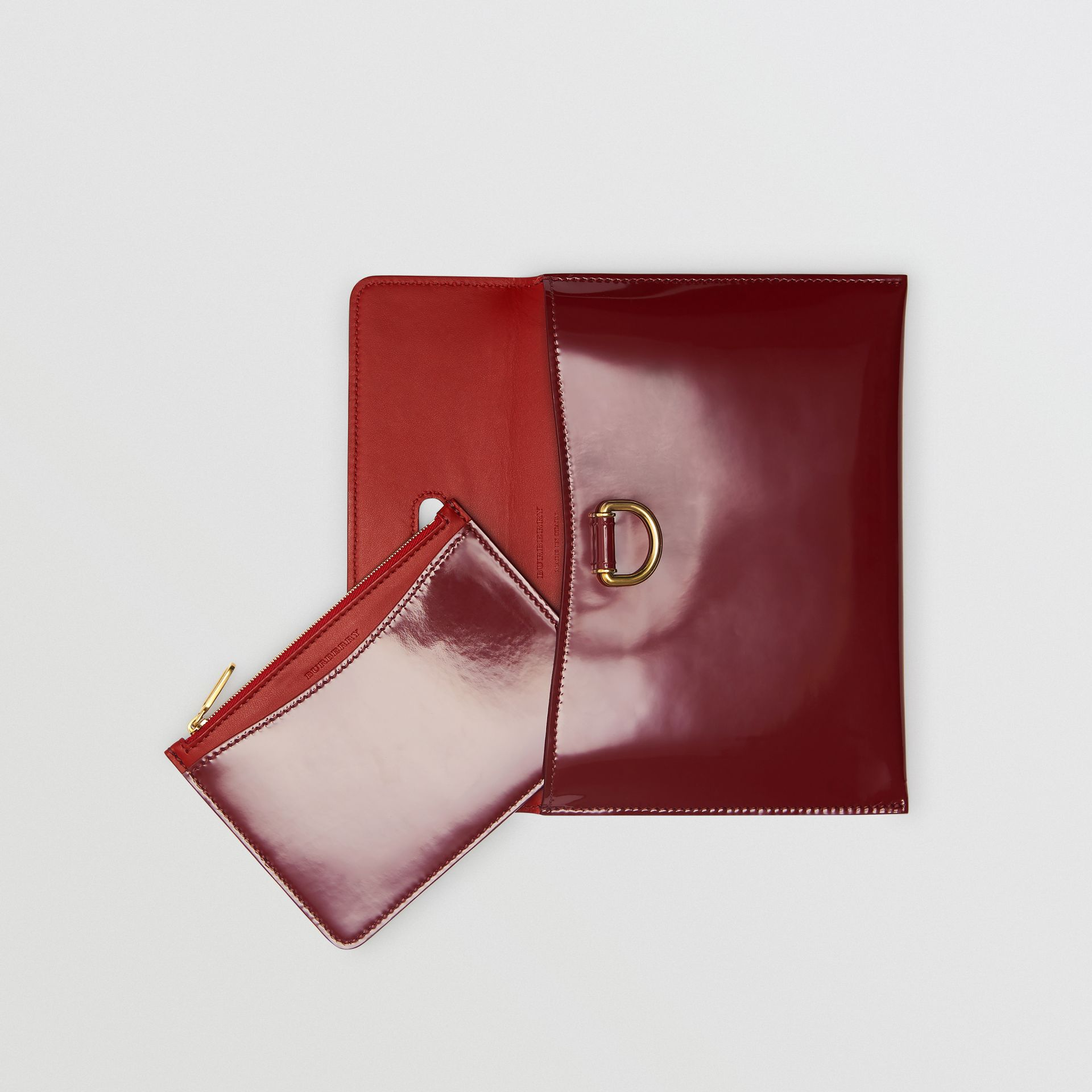 D-ring Patent Leather Pouch with Zip Coin Case in Crimson - Women | Burberry - gallery image 2