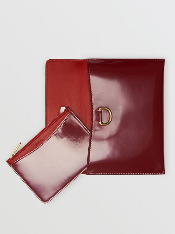 D-ring Patent Leather Pouch with Zip Coin Case in Crimson - Women | Burberry - cell image 2