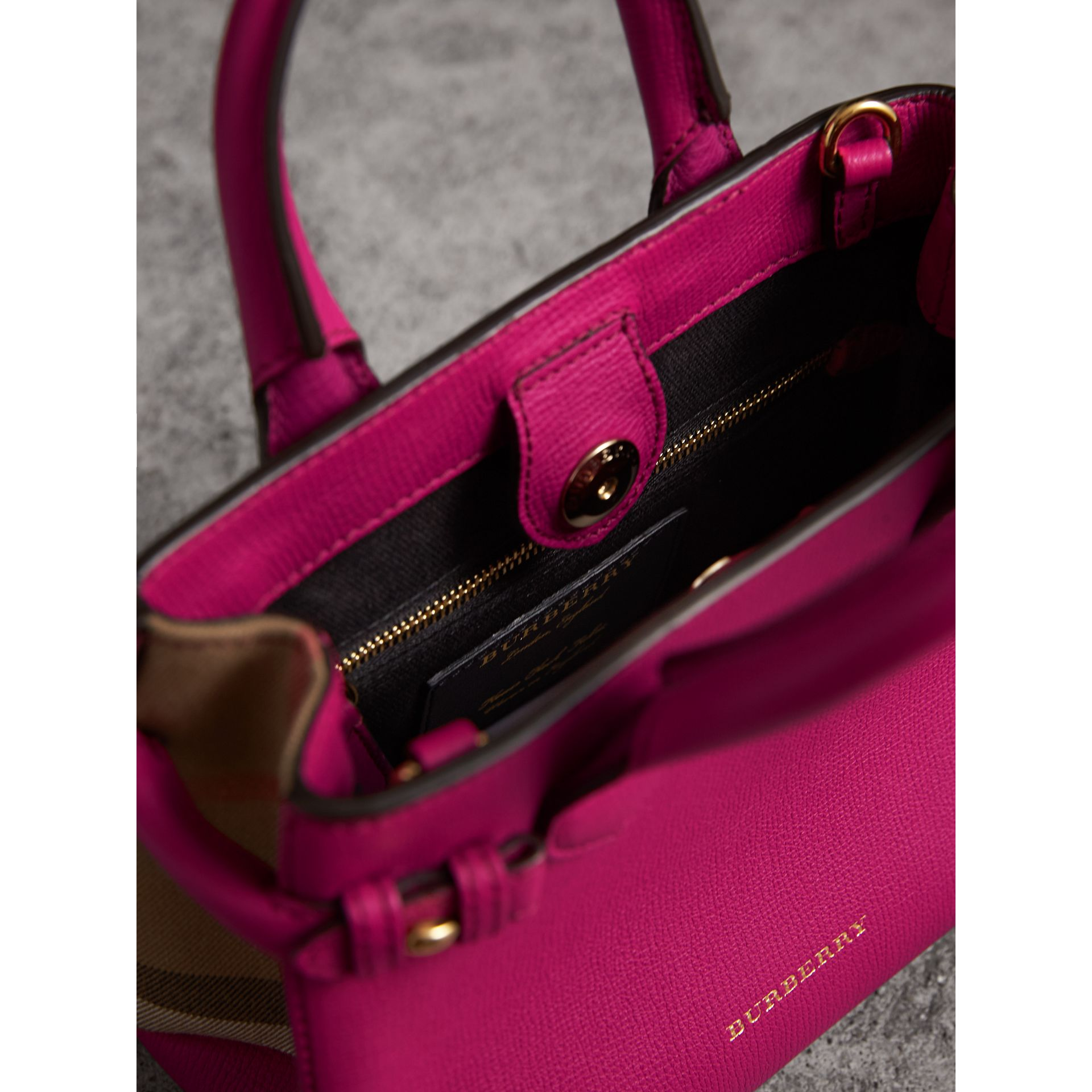 The Baby Banner in Leather and House Check in Brilliant Fuchsia - Women | Burberry Australia - gallery image 5