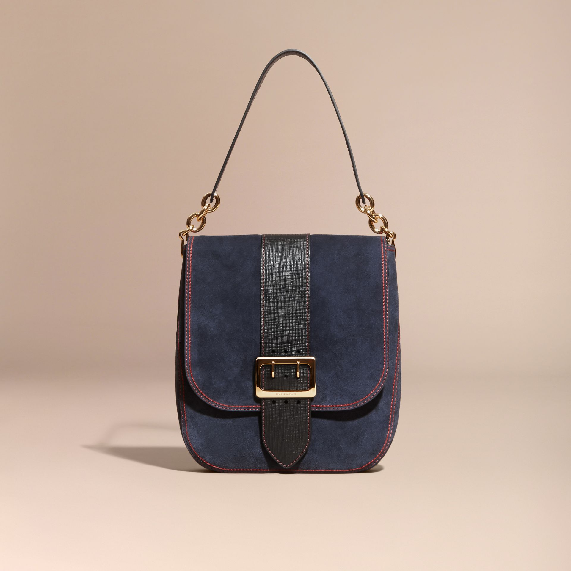 Navy The Buckle Satchel in Suede with Topstitching Navy - gallery image 7