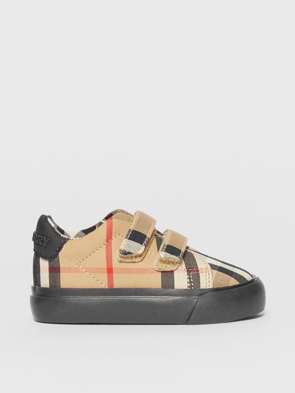 Vintage Check Cotton Sneakers in Archive Beige/black - Children | Burberry United Kingdom - cell image 3