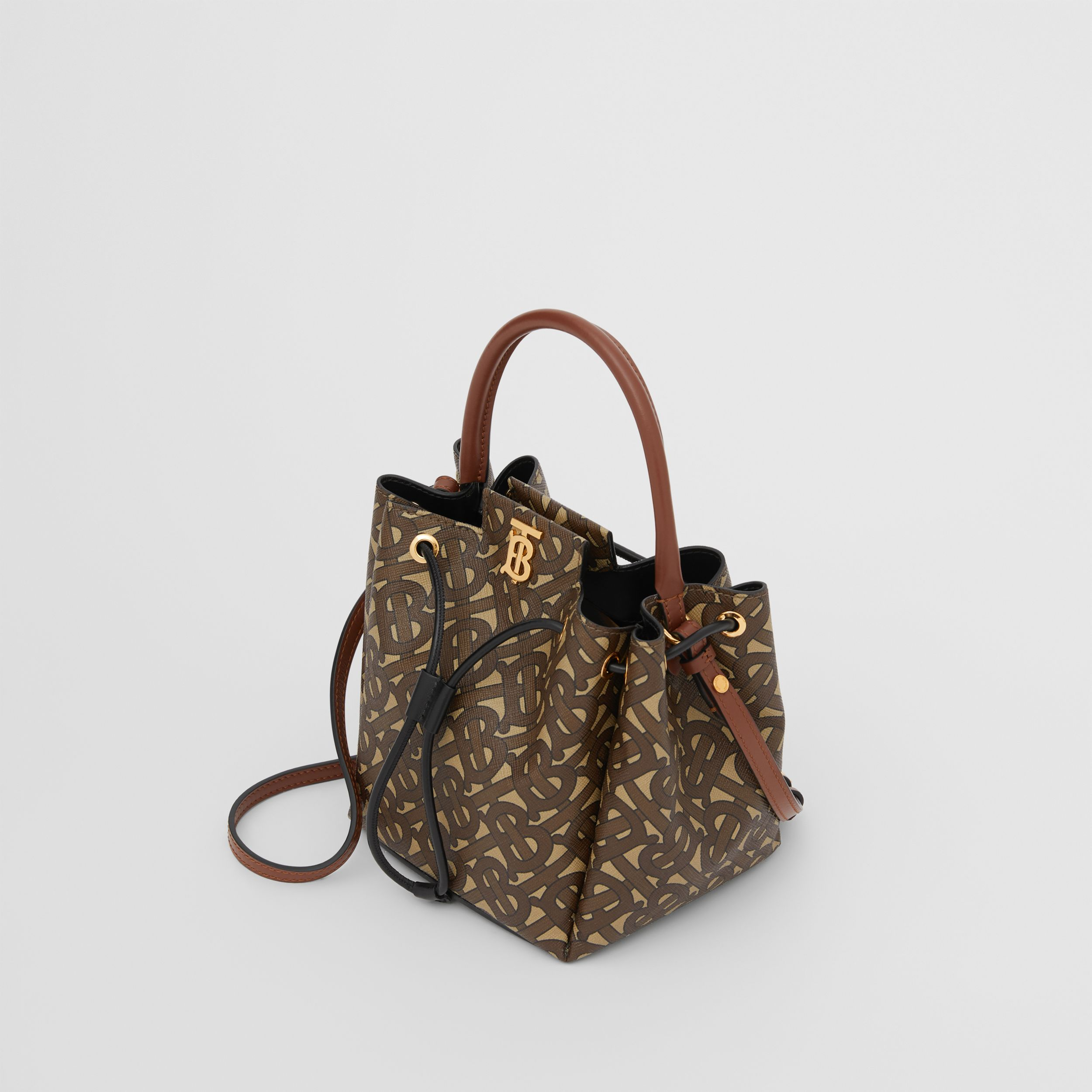 Monogram E-canvas Bucket Bag in Bridle Brown - Women | Burberry United Kingdom - 4