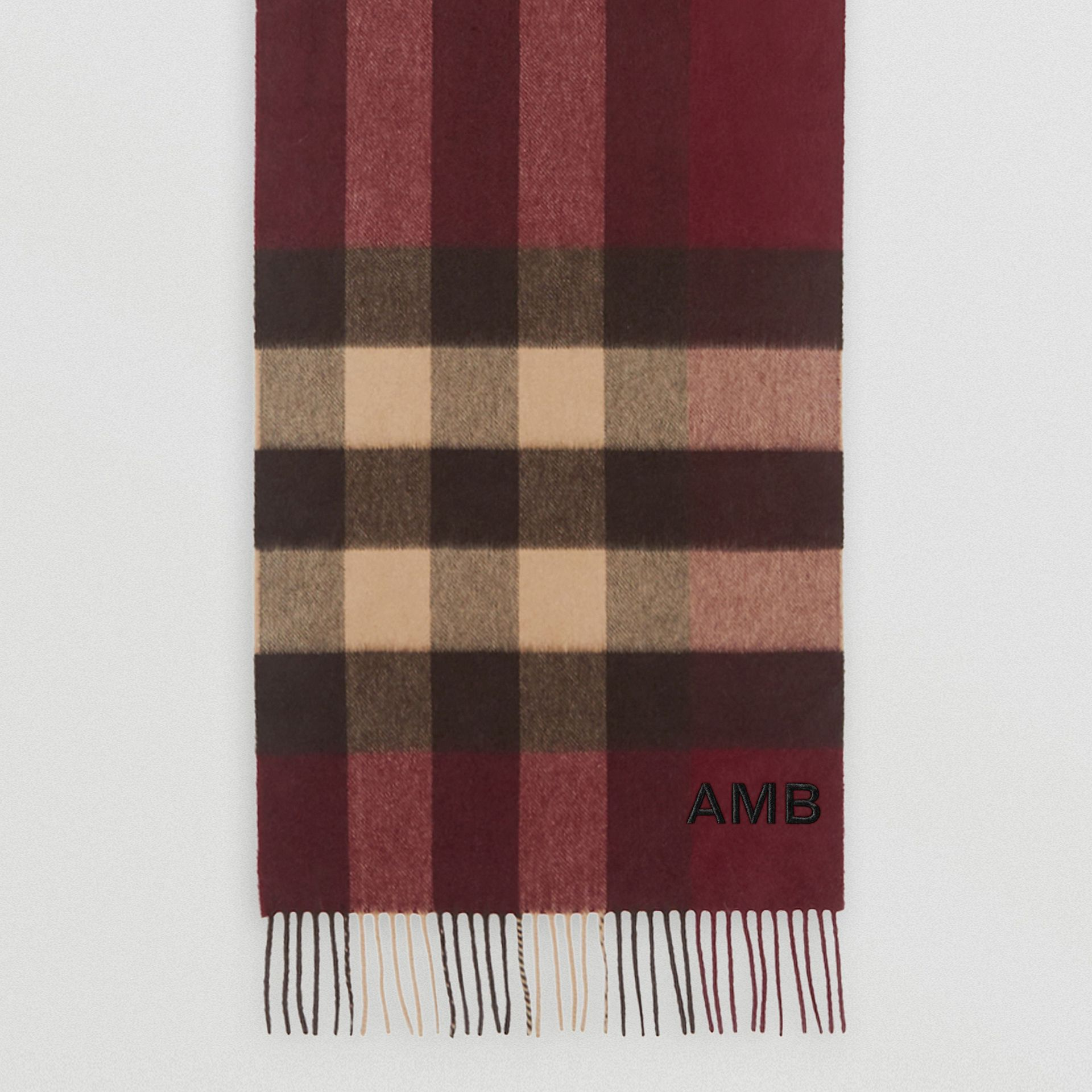 Check Cashmere Scarf in Burgundy | Burberry - gallery image 8