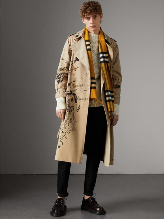 The Classic Check Cashmere Scarf in Gorse Yellow | Burberry Australia - cell image 3