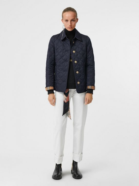Diamond Quilted Jacket in Navy
