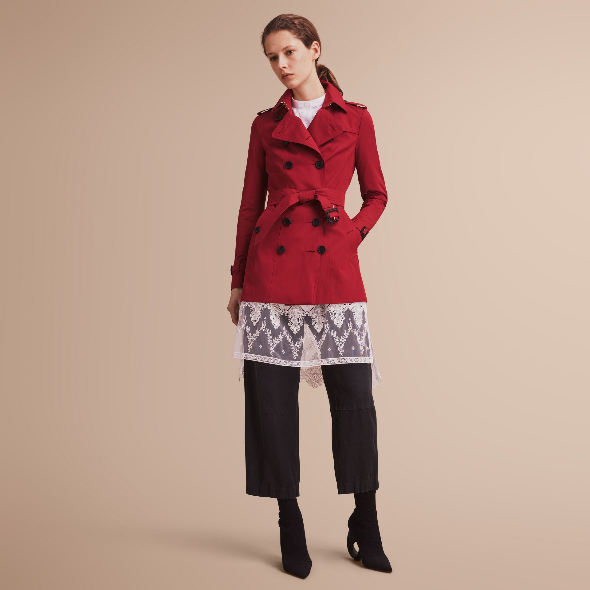 The Sandringham – Short Heritage Trench Coat in Parade Red - gallery image 1