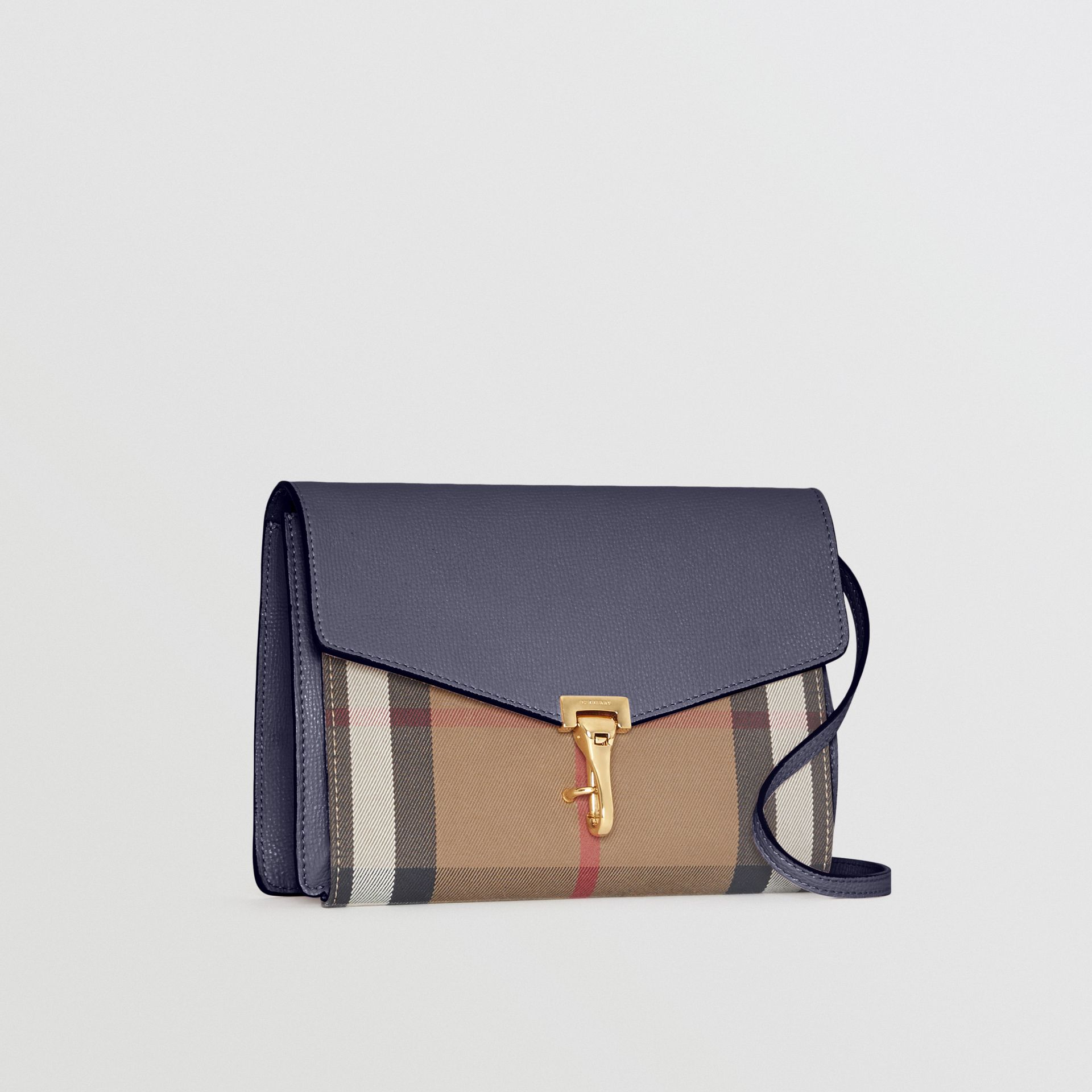 Small Leather and House Check Crossbody Bag in Ink Blue - Women | Burberry - gallery image 6