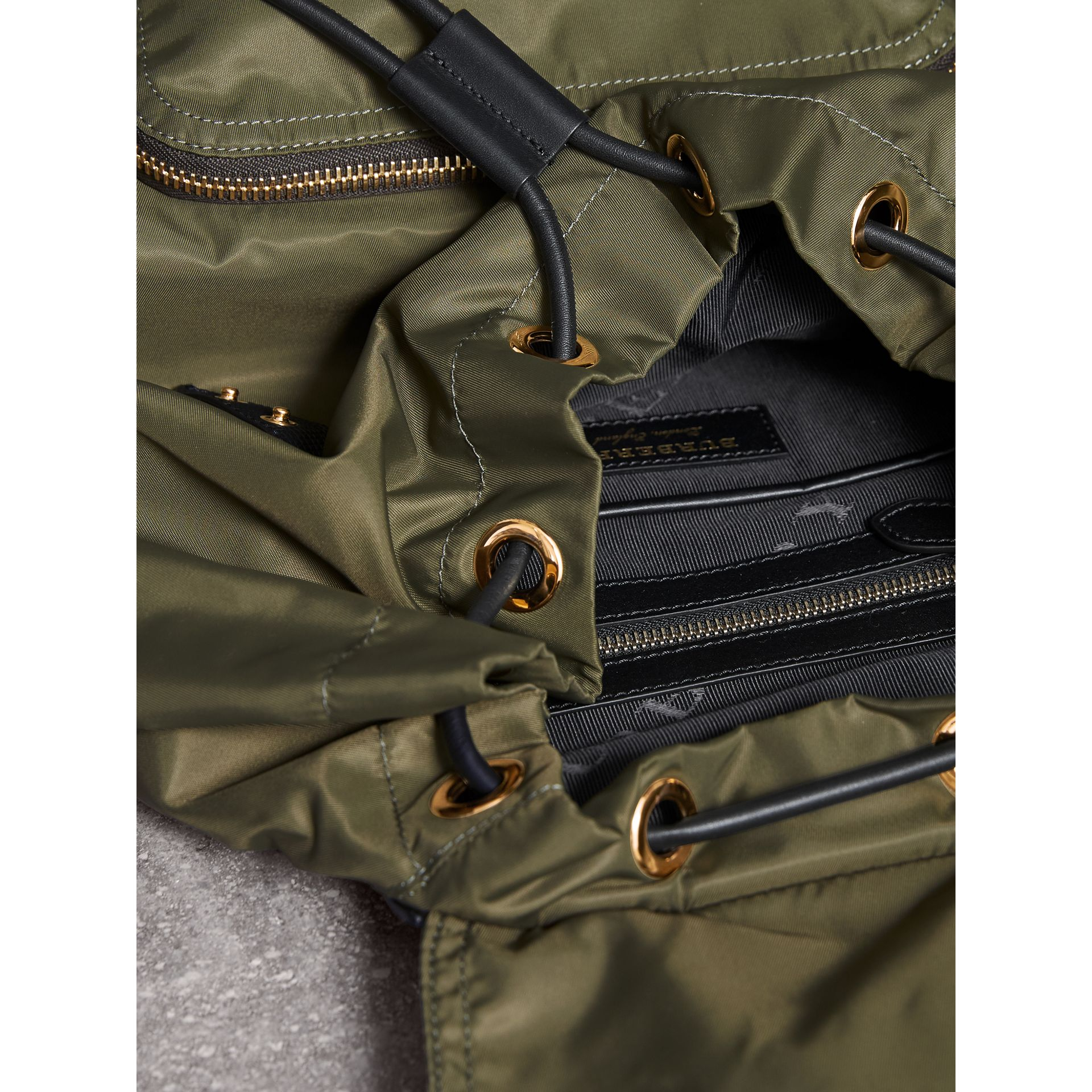 The Large Rucksack in Technical Nylon and Leather in Canvas Green - Women | Burberry Australia - gallery image 4
