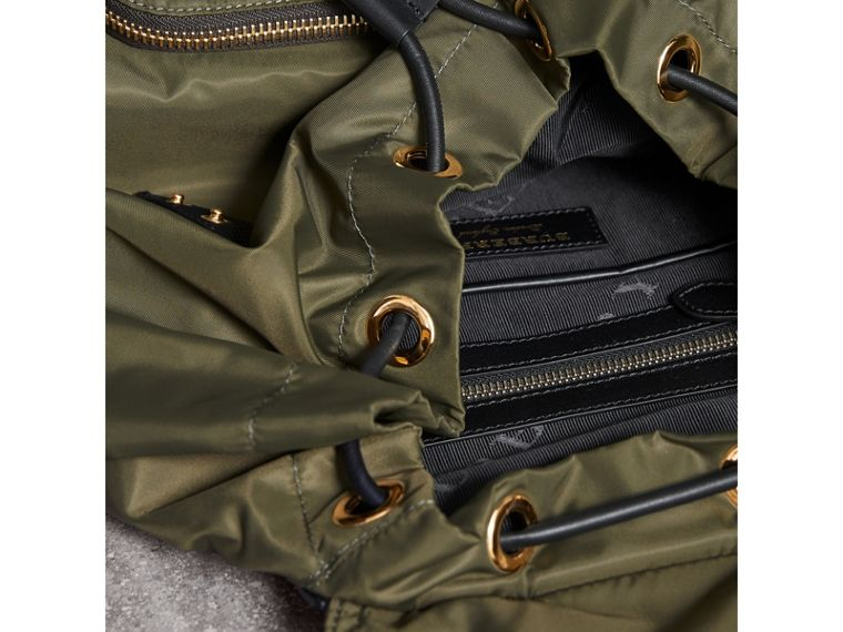 The Large Rucksack in Technical Nylon and Leather in Canvas Green - Women | Burberry Australia - cell image 4