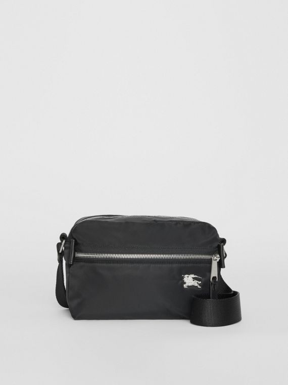EKD Aviator Nylon and Leather Crossbody Bag in Black