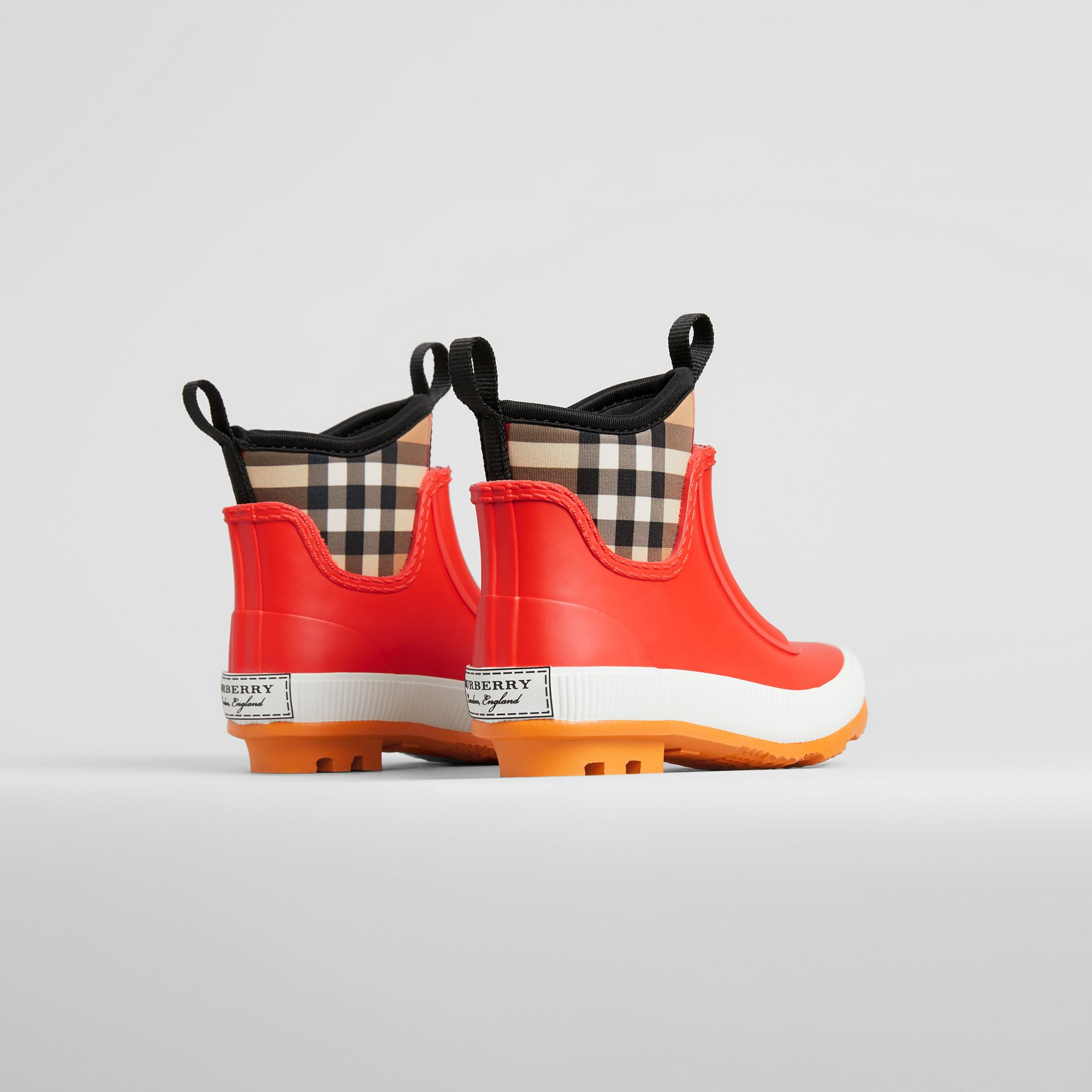 Vintage Check Neoprene and Rubber Rain Boots in Bright Red | Burberry Australia - gallery image 2