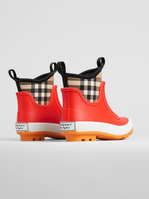 Vintage Check Neoprene and Rubber Rain Boots in Bright Red | Burberry United States - cell image 2