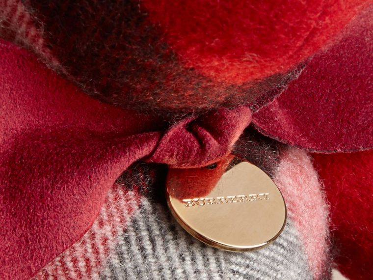 Orsetto Thomas in cashmere con motivo check Rosso Parata - cell image 1