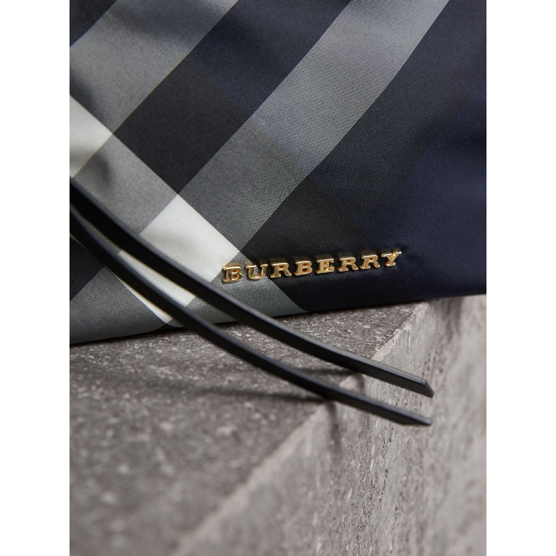 Medium Zip-top Check Technical Pouch in Indigo Blue - Women | Burberry United Kingdom - gallery image 2