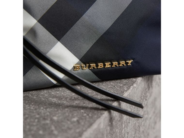 Medium Zip-top Check Technical Pouch in Indigo Blue - Women | Burberry Singapore - cell image 1
