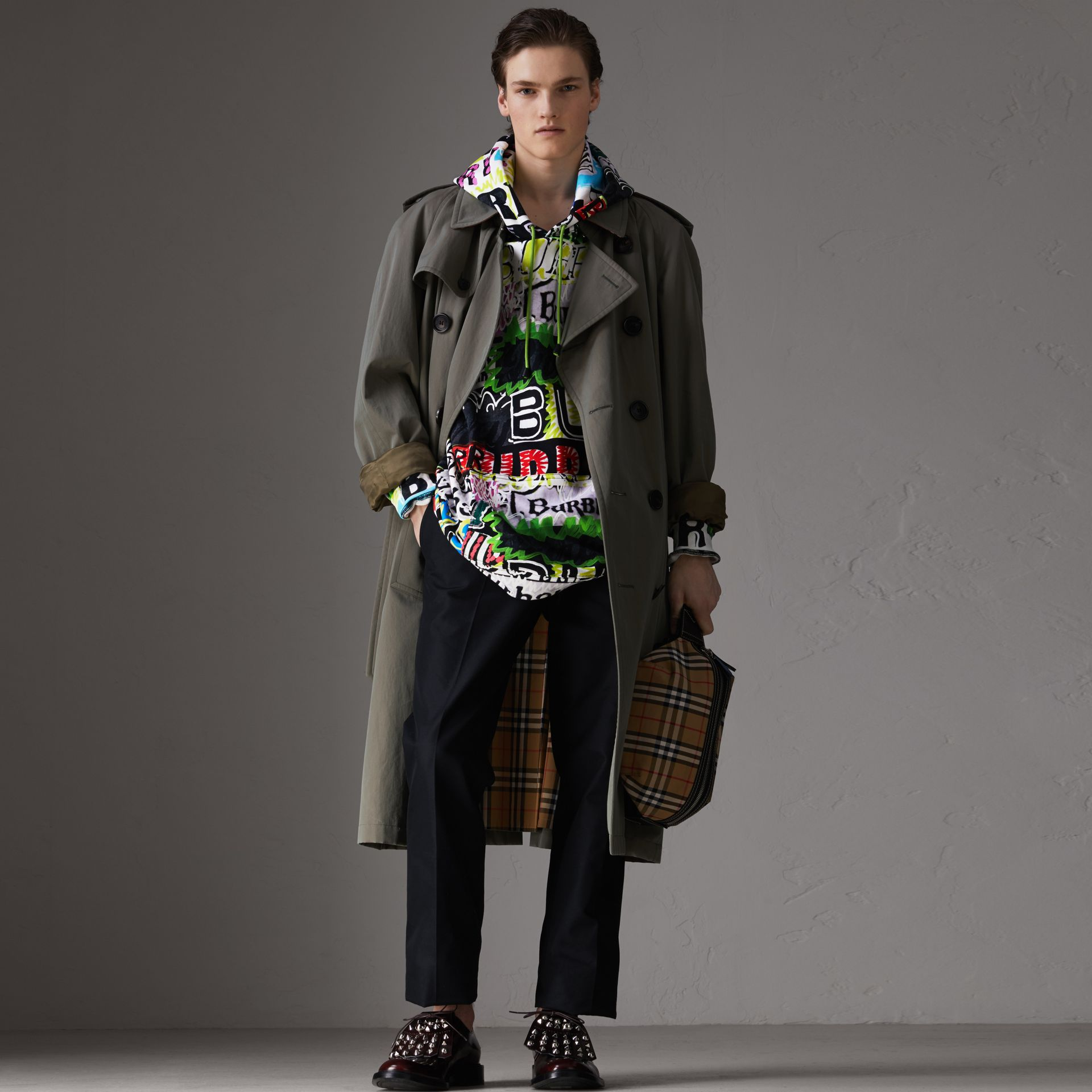 Oversized Logo Print Cotton Hoodie in Bright Green - Men | Burberry Australia - gallery image 4