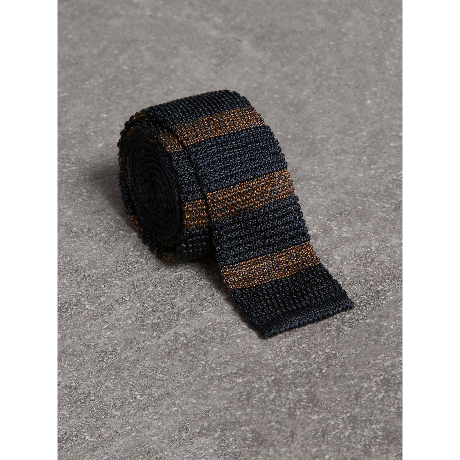 Slim Cut Two-tone Knitted Silk Tie in Navy - Men | Burberry United Kingdom - gallery image 0