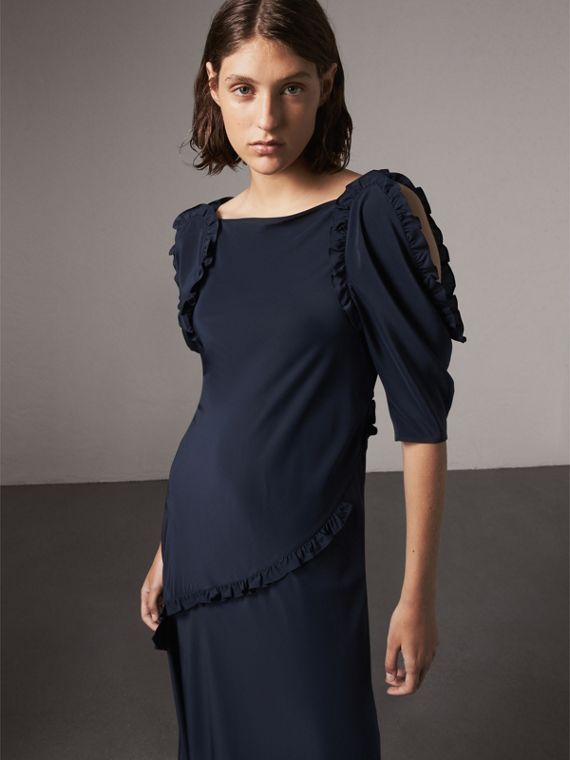 Ruffle Detail Bias-cut Silk Dress in Navy