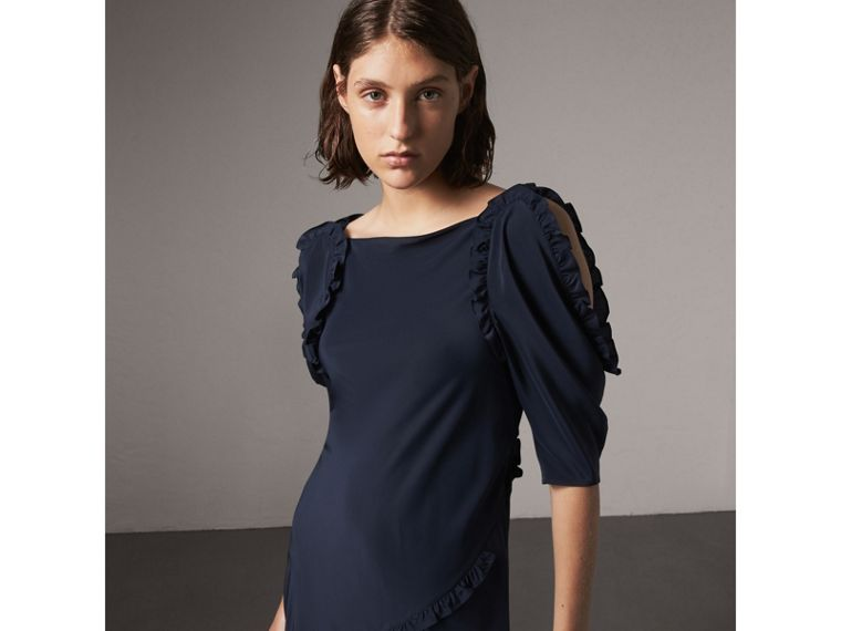 Ruffle Detail Bias-cut Silk Dress in Navy - Women | Burberry United Kingdom - cell image 4