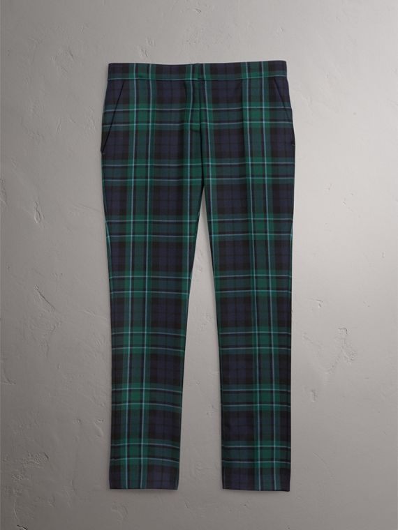 Tartan Wool Tailored Trousers in Pine Green - Women | Burberry - cell image 3