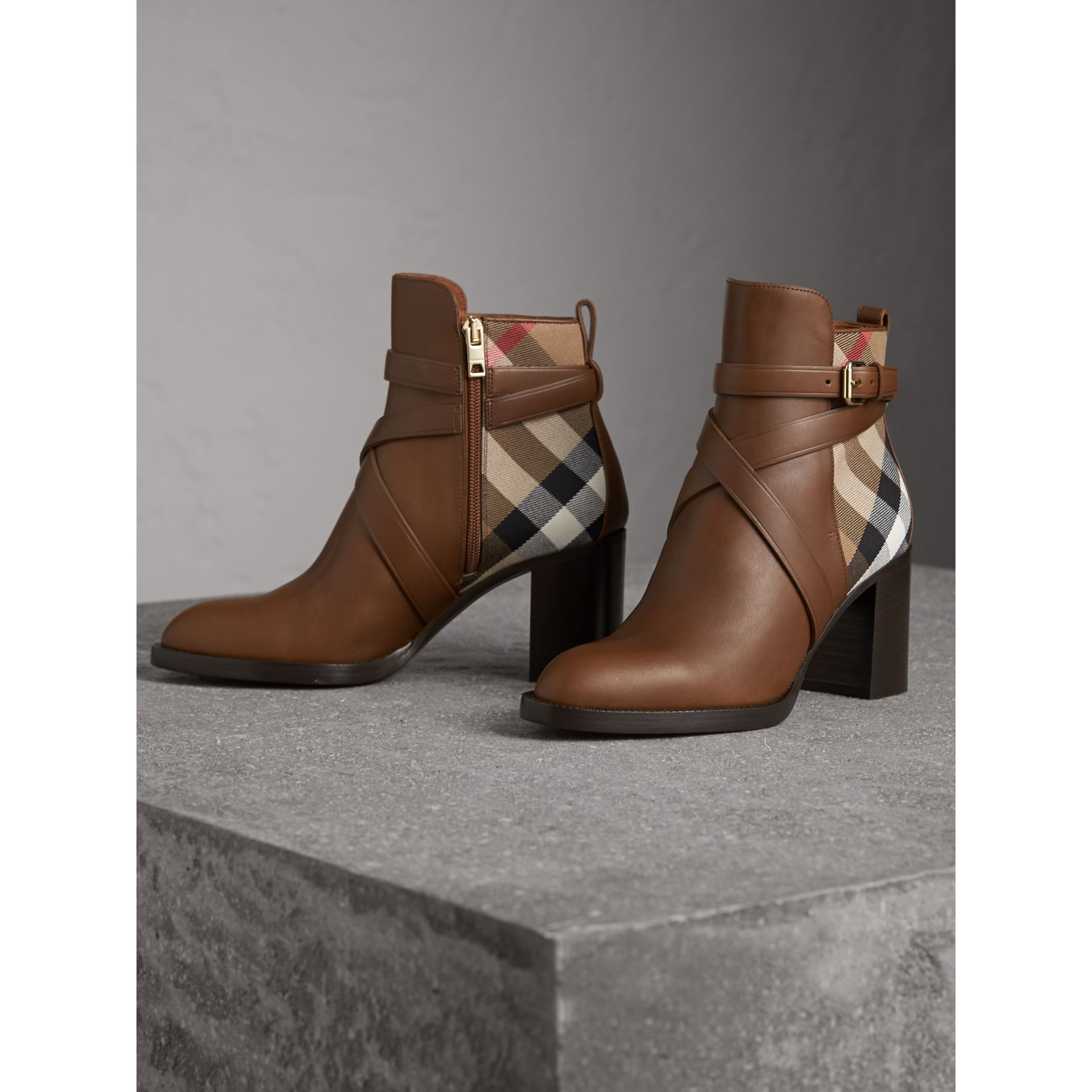 House Check and Leather Ankle Boots in Bright Camel - Women | Burberry United Kingdom - gallery image 4