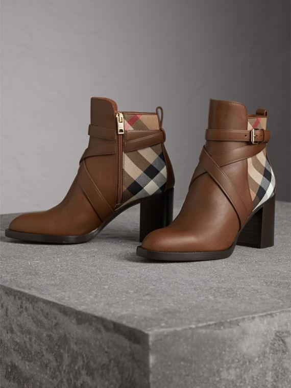 House Check and Leather Ankle Boots in Bright Camel - Women | Burberry - cell image 3