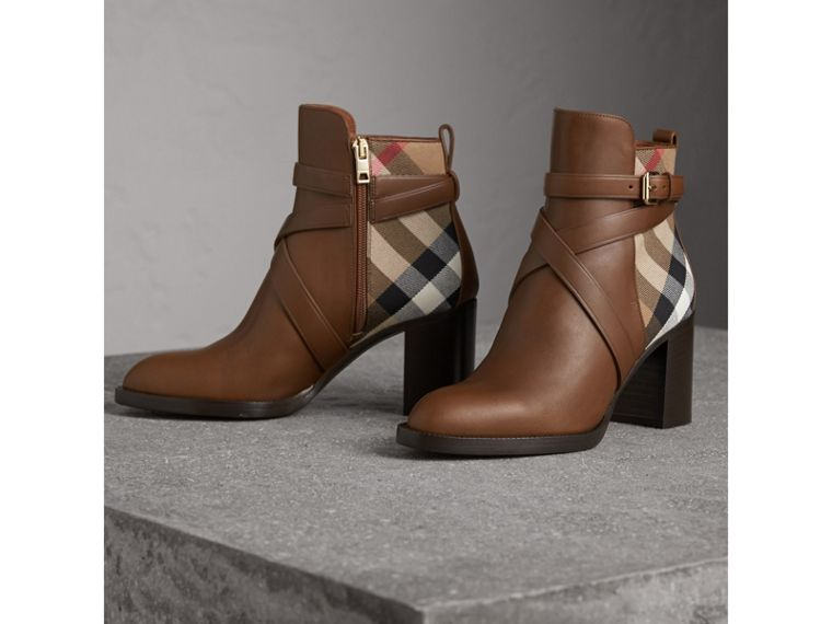 House Check and Leather Ankle Boots in Bright Camel - Women | Burberry - cell image 4