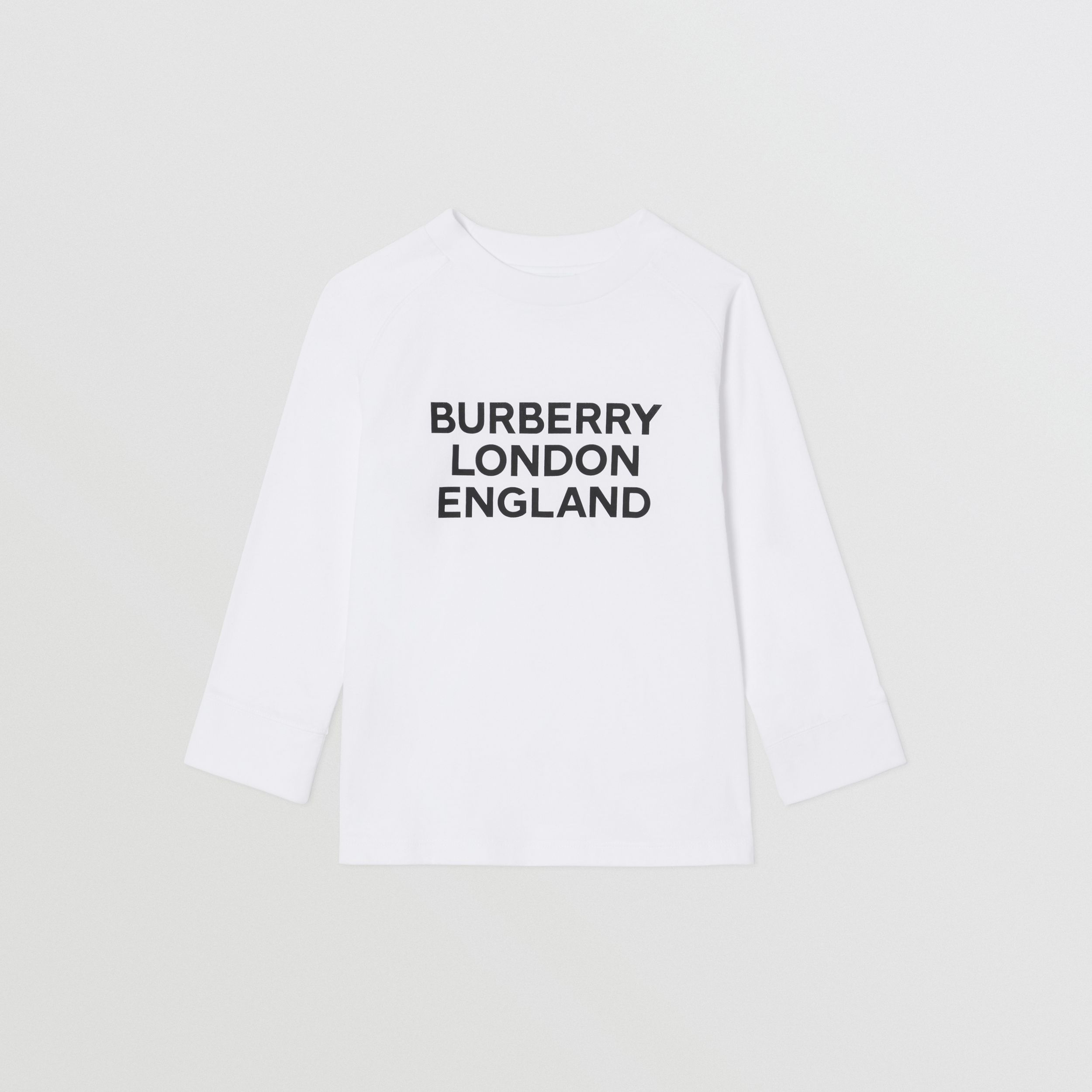Long-sleeve Logo Print Cotton Top in White | Burberry - 1