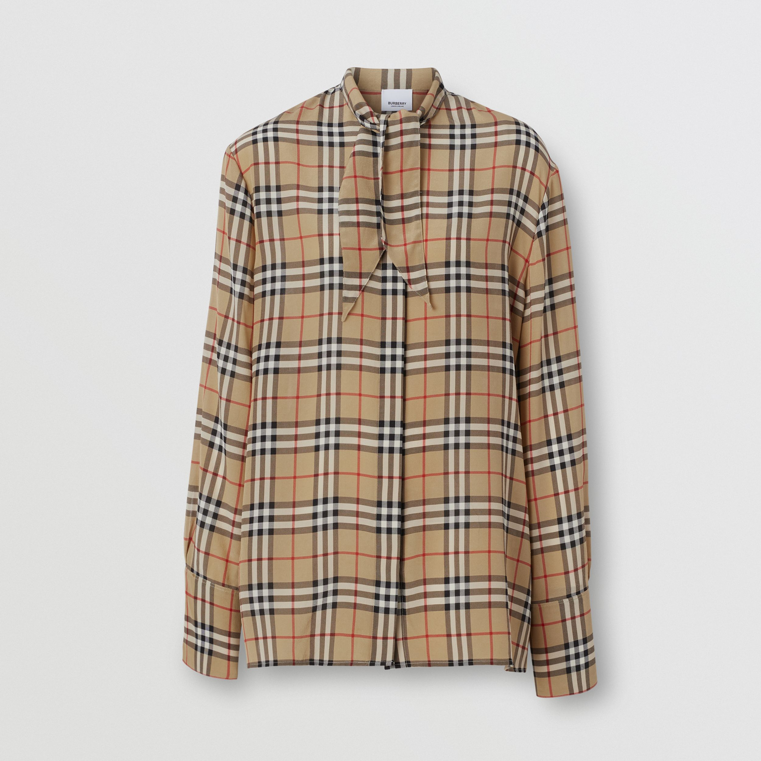 Vintage Check Silk Tie-neck Shirt in Archive Beige | Burberry - 4