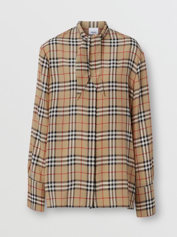Vintage Check Silk Tie-neck Shirt in Archive Beige - Women | Burberry United States - cell image 3