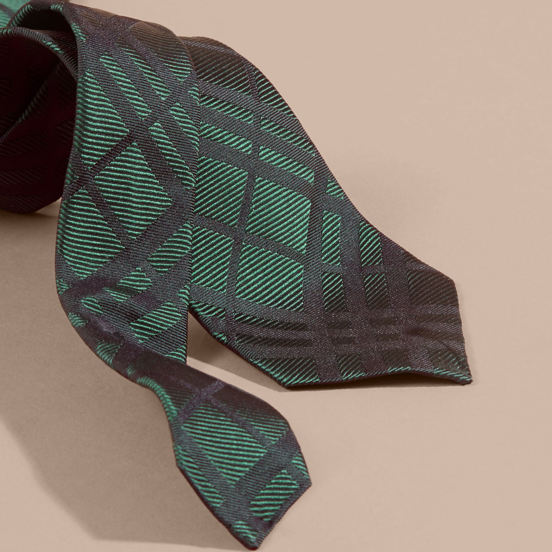 Modern Cut Check Jacquard Silk Tie Dark Forest Green - gallery image 2
