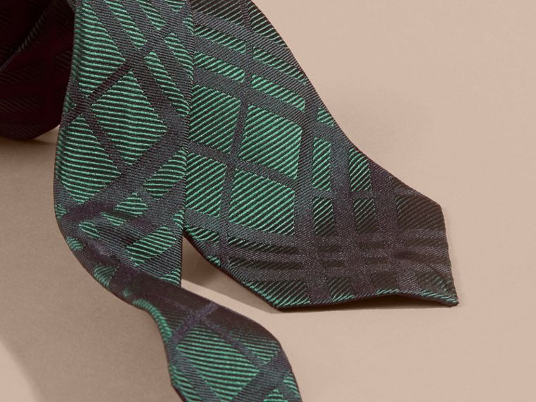 Modern Cut Check Jacquard Silk Tie Dark Forest Green - cell image 1